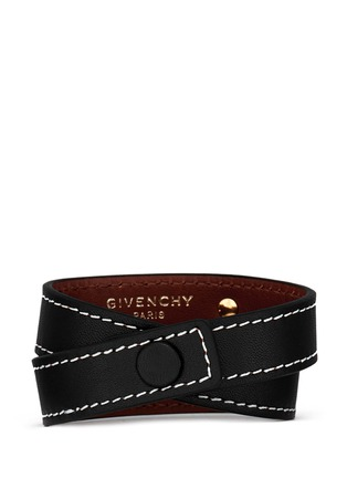 Figure View - Click To Enlarge - Givenchy - Logo plate calf leather bracelet