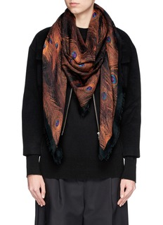 GIVENCHY Peacock print cashmere-silk scarf
