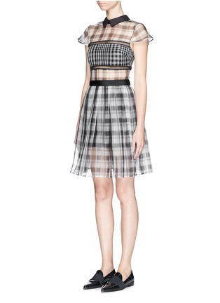 Front View - Click To Enlarge - self-portrait - Plaid check organza collar dress