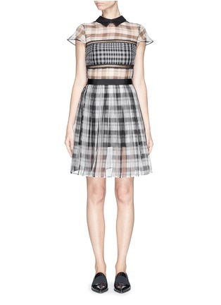 Main View - Click To Enlarge - self-portrait - Plaid check organza collar dress