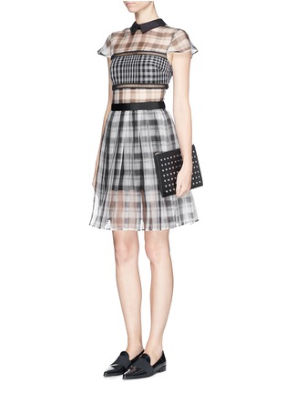 Figure View - Click To Enlarge - self-portrait - Plaid check organza collar dress