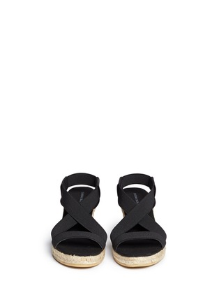 Figure View - Click To Enlarge - SARAH SUMMER - Elastic band espadrille wedge sandals