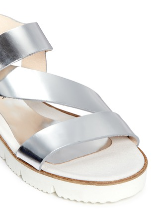 Detail View - Click To Enlarge - SARAH SUMMER - Mirror leather flatform sandals