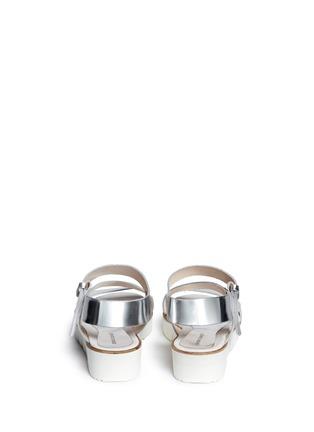 Back View - Click To Enlarge - SARAH SUMMER - Mirror leather flatform sandals