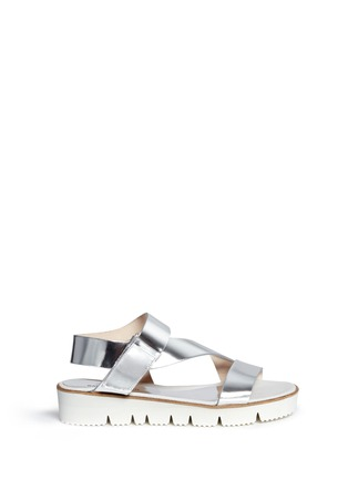 Main View - Click To Enlarge - SARAH SUMMER - Mirror leather flatform sandals