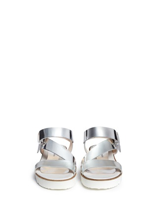 Figure View - Click To Enlarge - SARAH SUMMER - Mirror leather flatform sandals