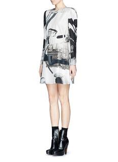 CARVENUrban print belted silk dress