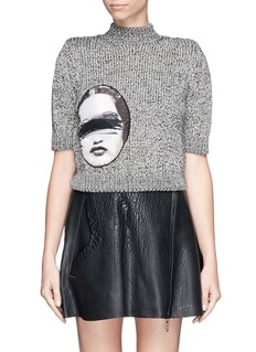 CARVEN Woman face panel stretch cropped sweater