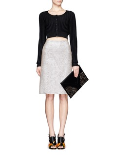 AZZEDINE ALAÏA Perforated corner leather envelope clutch
