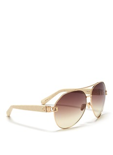 LINDA FARROW Snakeskin temple oversized aviator sunglasses