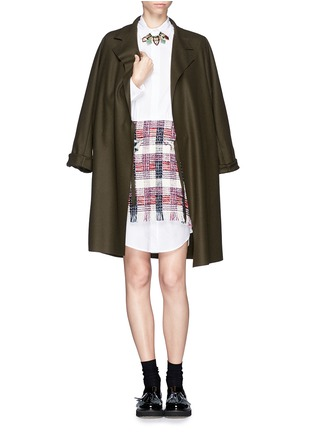 Detail View - Click To Enlarge - MSGM - Tweed overlay shirt dress
