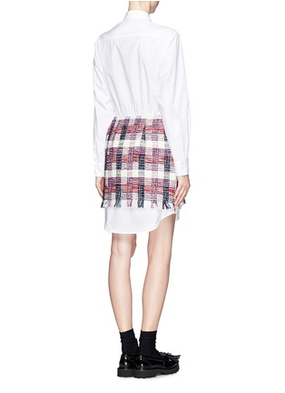 Back View - Click To Enlarge - MSGM - Tweed overlay shirt dress