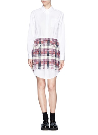 Main View - Click To Enlarge - MSGM - Tweed overlay shirt dress
