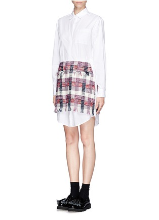 Figure View - Click To Enlarge - MSGM - Tweed overlay shirt dress
