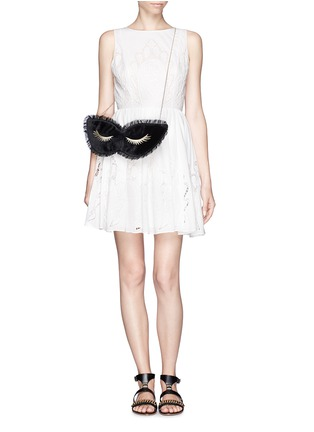 Figure View - Click To Enlarge - Charlotte Olympia - 'Blink' mask velvet clutch