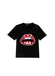 MARKUS LUPFER'Candy Cane Stripe' Lara Lip sequin Alex kids T-shirt