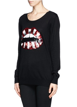 Front View - Click To Enlarge - MARKUS LUPFER - Natalie candy stripe sequin 'Lara Lip' sweater