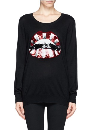 Main View - Click To Enlarge - MARKUS LUPFER - Natalie candy stripe sequin 'Lara Lip' sweater