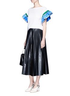 Emilio PucciScarf print stripe ruffle sleeve T-shirt