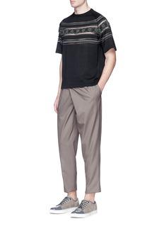 kolorTribal intarsia mesh trim short sleeve sweater