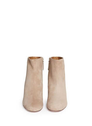 Front View - Click To Enlarge - Aquazzura - 'Brooklyn' suede and leather ankle boots