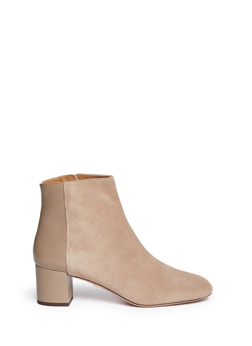 Brooklyn suede and leather ankle boots by Aquazzura