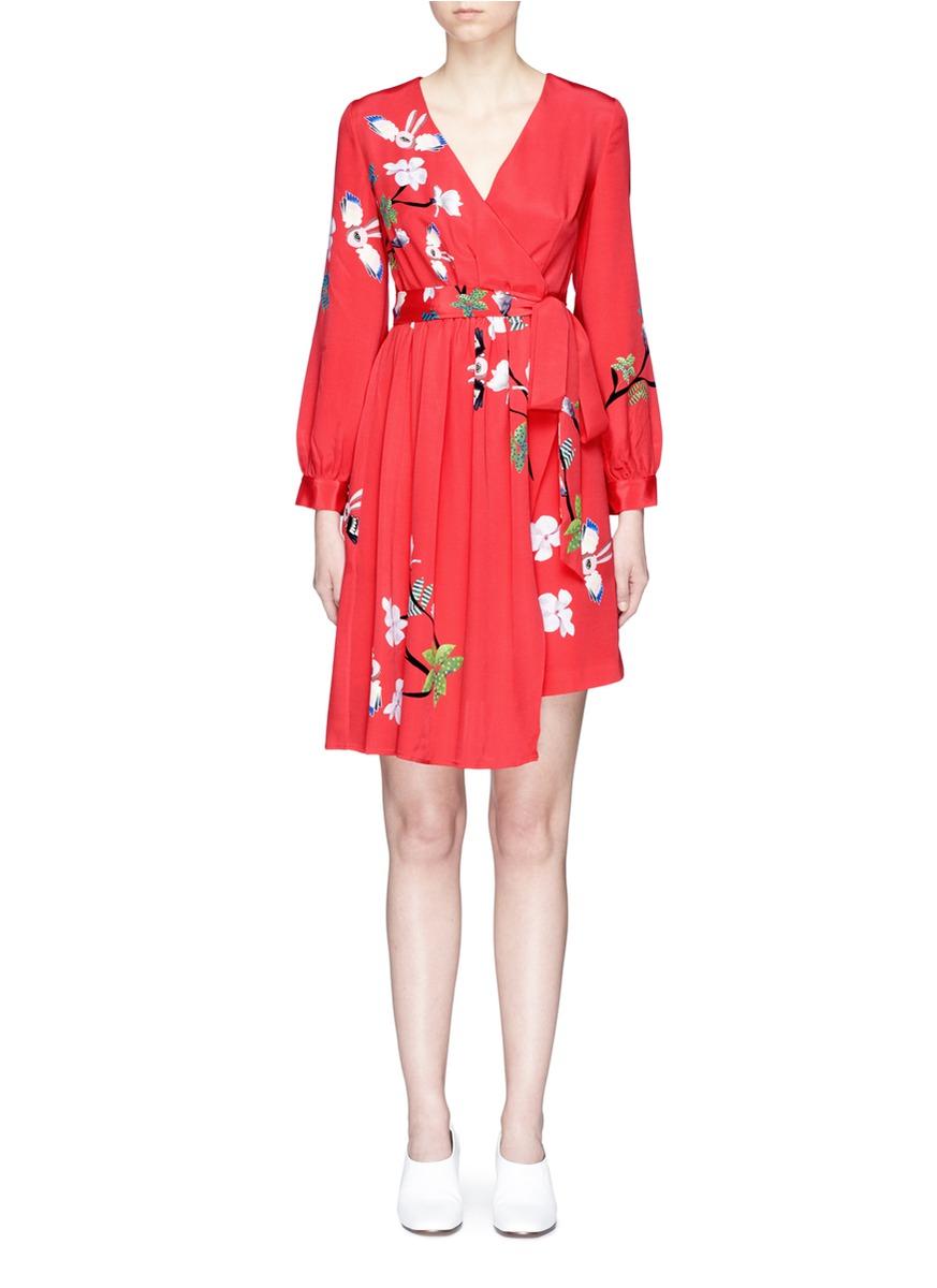 Flying Bunny print wrap crepe dress by HELEN LEE
