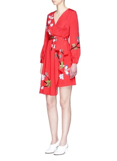 HELEN LEE 'Flying Bunny' print wrap crepe dress