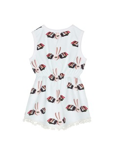 HELEN LEE Bunny graphic print pompom sleeveless dress