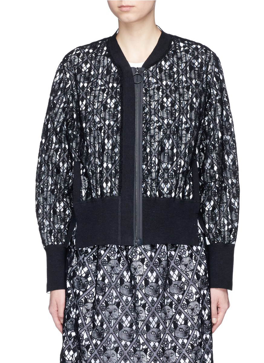 Cat guipure lace bomber jacket by Dawei
