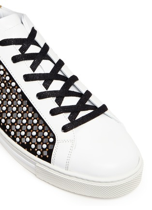 Detail View - Click To Enlarge - René Caovilla - Faux pearl strass embellished cutout suede sneakers