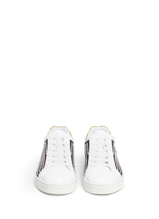 Front View - Click To Enlarge - René Caovilla - Faux pearl strass embellished cutout suede sneakers