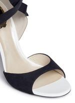 Strass embellished suede ankle tie sandals