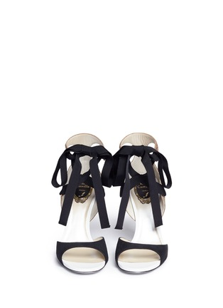 Front View - Click To Enlarge - René Caovilla - Strass embellished suede ankle tie sandals