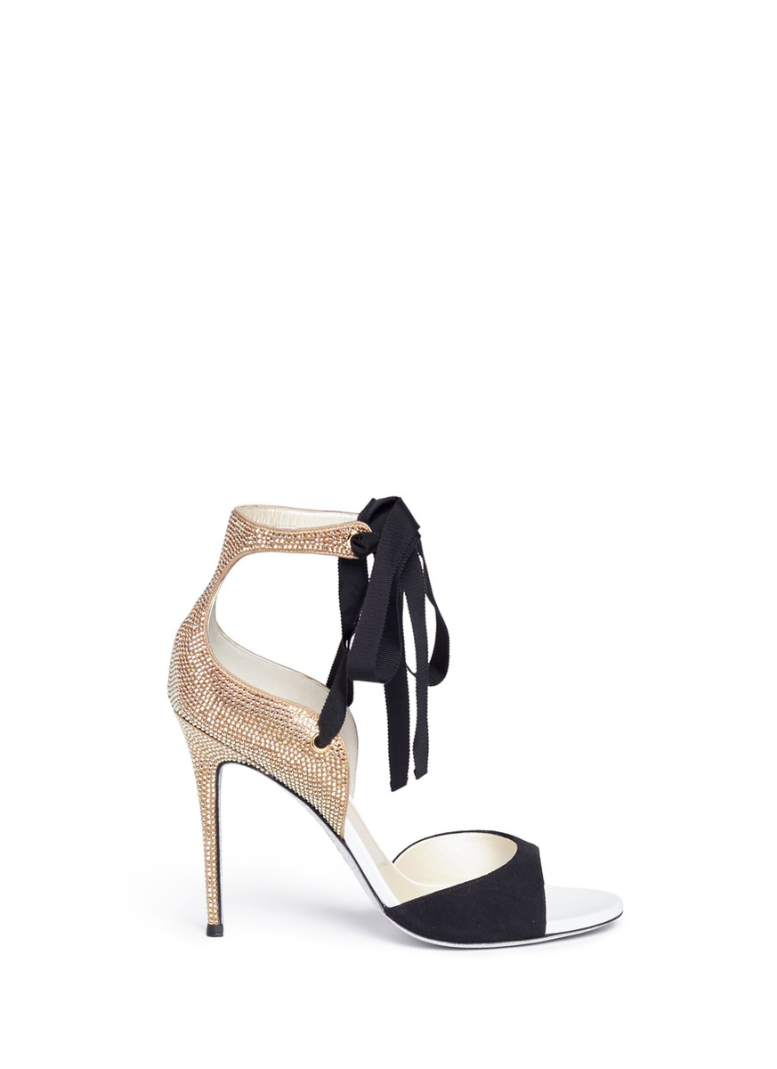 Strass embellished suede ankle tie sandals by René Caovilla