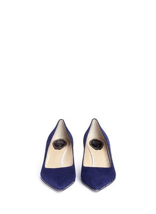 Front View - Click To Enlarge - René Caovilla - Strass pavé kitten heel suede pumps