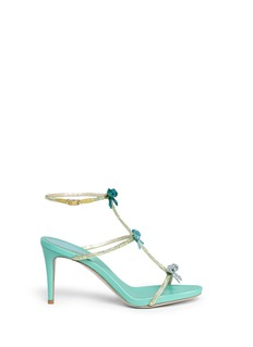 René Caovilla Strass pavé bow satin sandals