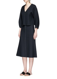Tibi Split front crepe sable fluted skirt