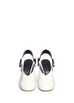 Front View - Click To Enlarge - Tibi - 'Jillian' buckled leather slingback choked-up pumps