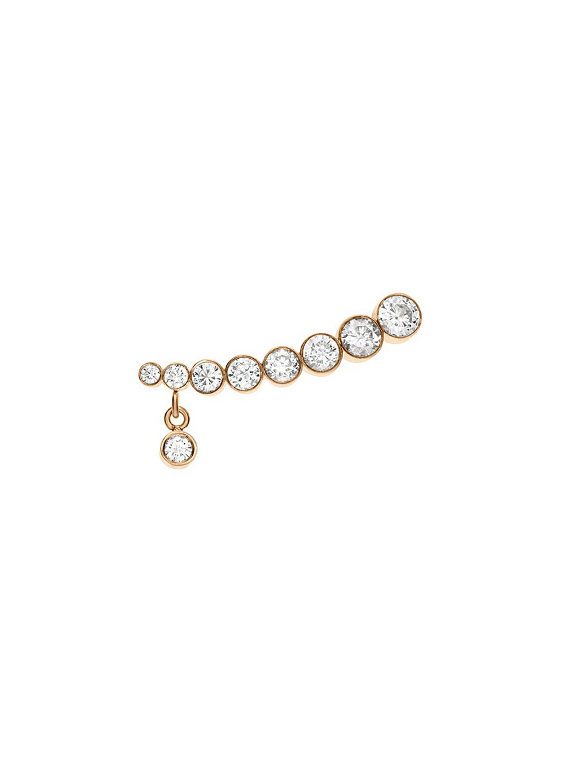 Croissant Amanda diamond 18k yellow gold single earring by Sophie Bille Brahe