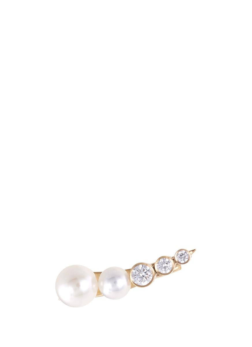 Petite Croissant Perle Akoya pearl diamond 14k gold single left earring by Sophie Bille Brahe
