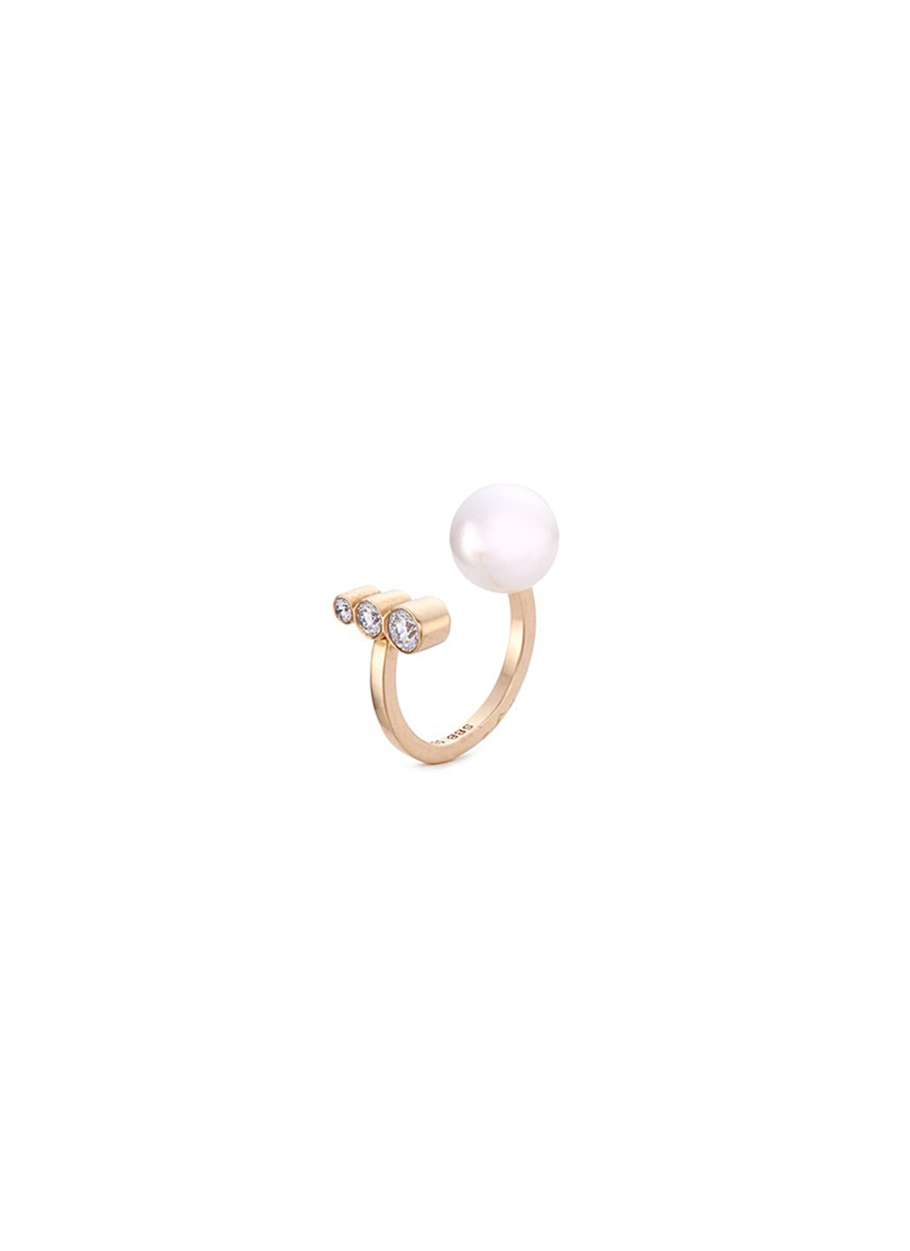 Emma Perle Akoya pearl diamond 14k gold ring by Sophie Bille Brahe