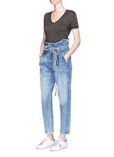 Tortoise 'Morenia' belted paperbag waist girlfriend jeans