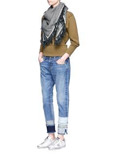 Tortoise'Savanna' frayed patchwork cuff jeans