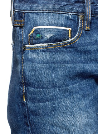 Detail View - Click To Enlarge - Tortoise - Herma' distressed ripped knit patch cropped jeans