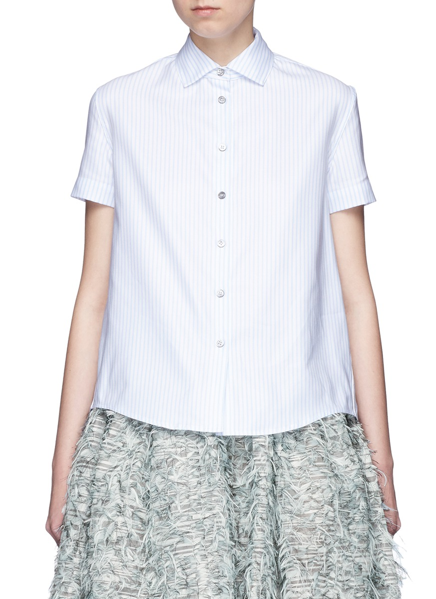 Smocked cutout back stripe Oxford shirt by Jourden