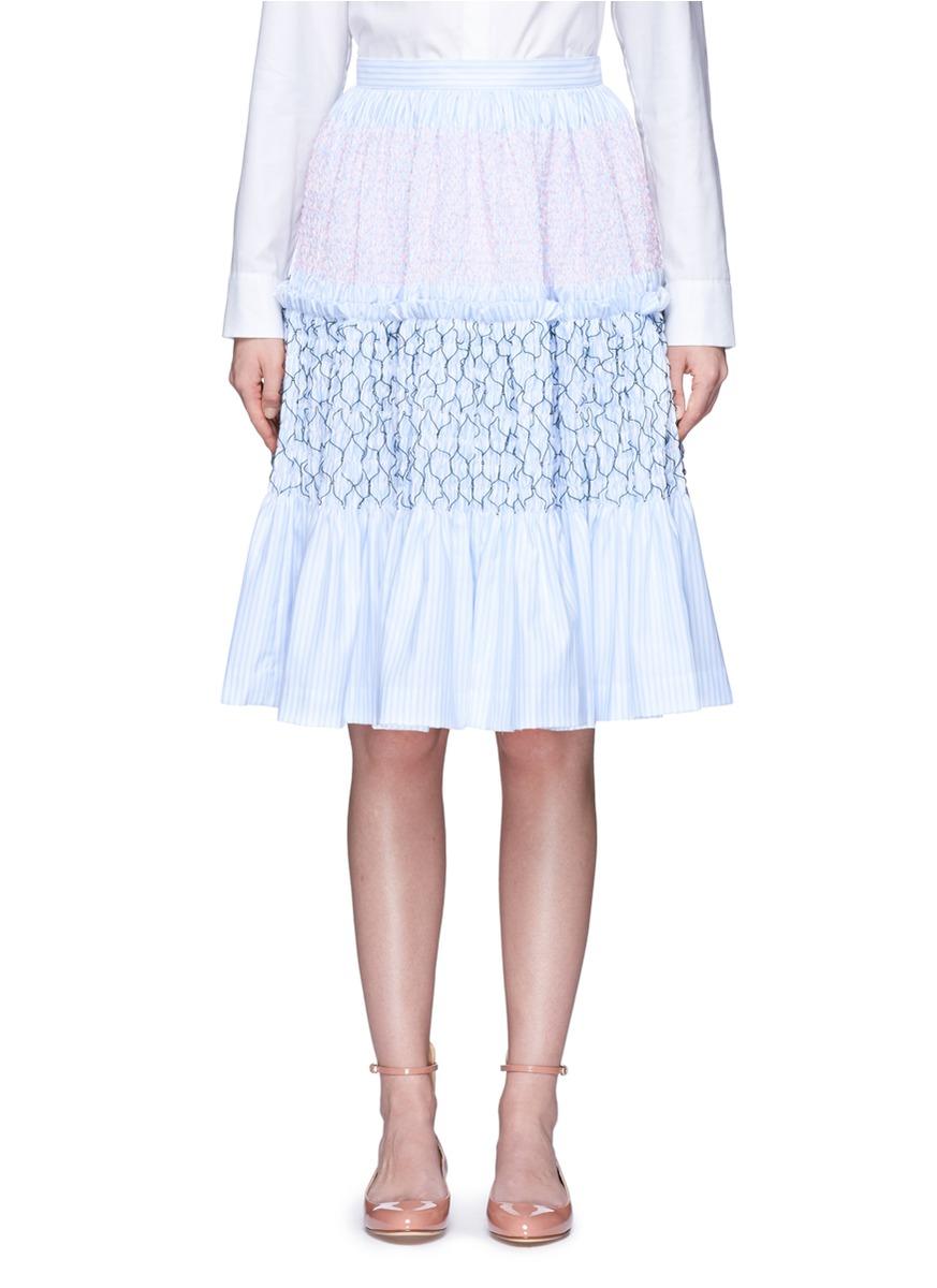 Stripe smocked tiered Oxford skirt by Jourden