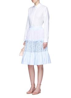 JourdenStripe smocked tiered Oxford skirt