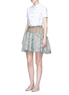 JourdenFrayed gauze dot embroidered tulle skirt