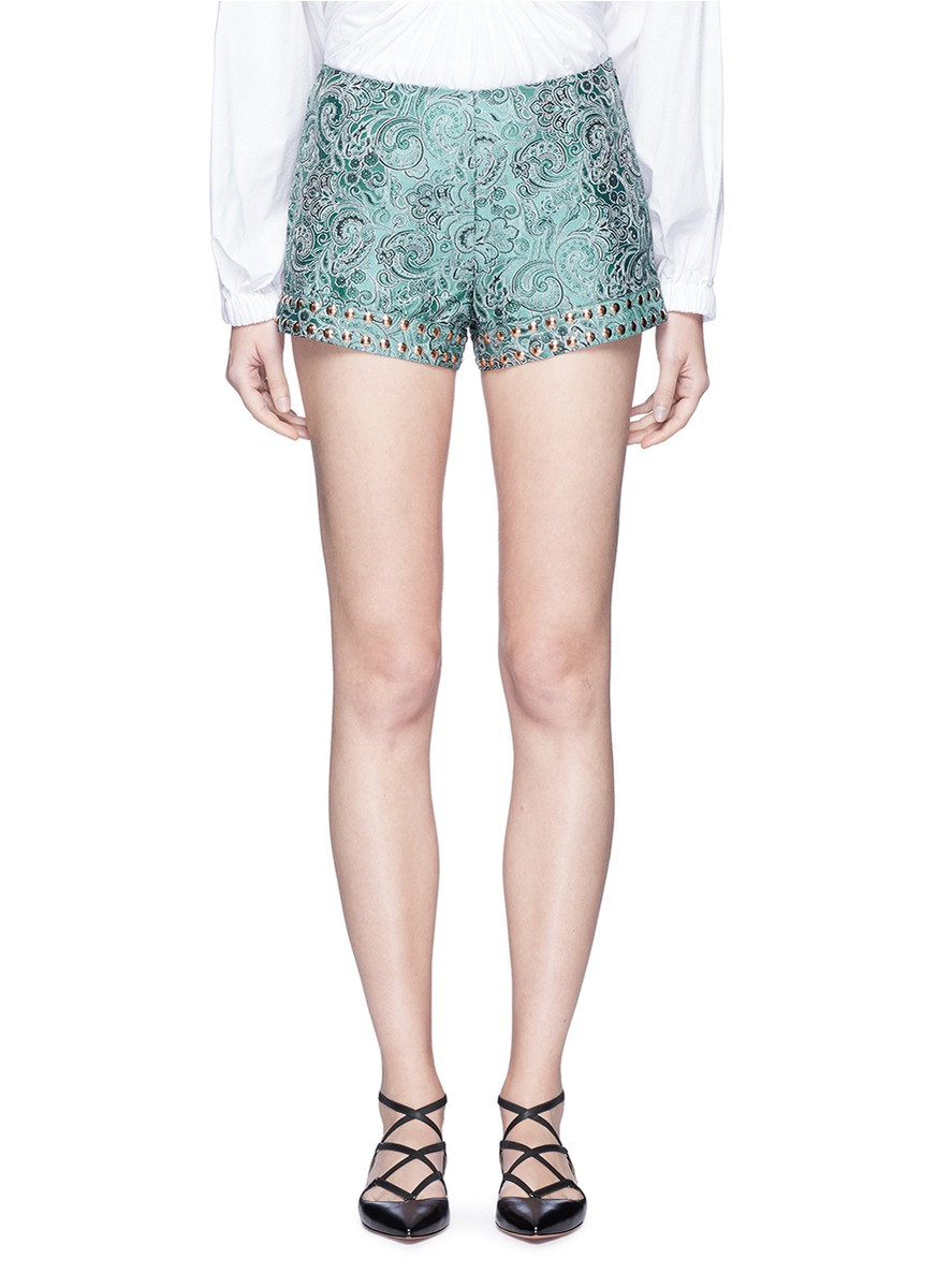 Emerald China stud paisley brocade shorts by Jourden